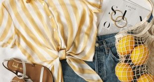 Lulus | Portofino Coast Yellow Striped Button-Up Tie-Front Top | Size X-Small | 100% Rayon