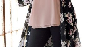 Black Pants With Long Floral Vest And Nude Top   Plus Size Fashion