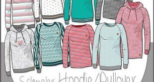 Ebook/Nähanleitung Mix&Match Hoodie/Pullover Damen Gr. 32 - 58