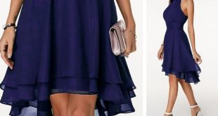 Sleeveless High Waist Asymmetric Hem Navy Blue Dress